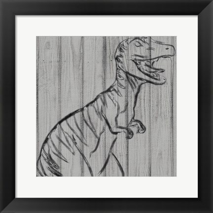Framed Dino On Wood I Print