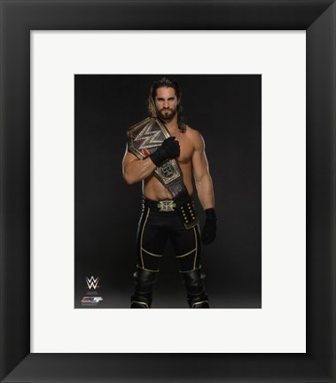 Framed Seth Rollins with the WWE Championship Belt 2015 Print