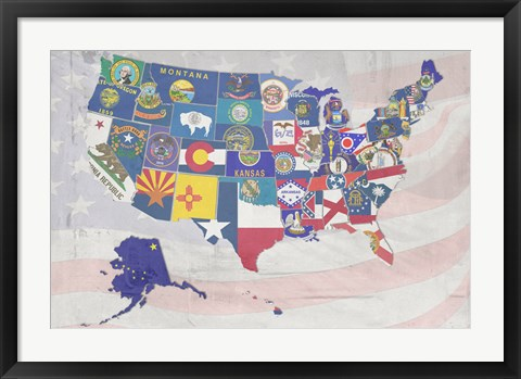 Framed US State Flags Print