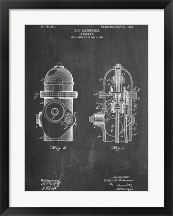 Framed Fire Hydrant Print