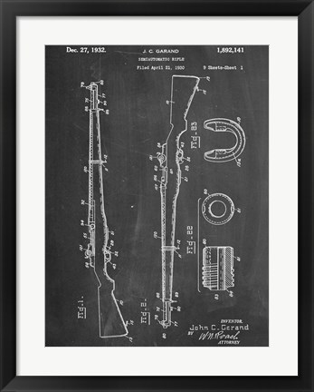 Framed M 1 Rifle Print