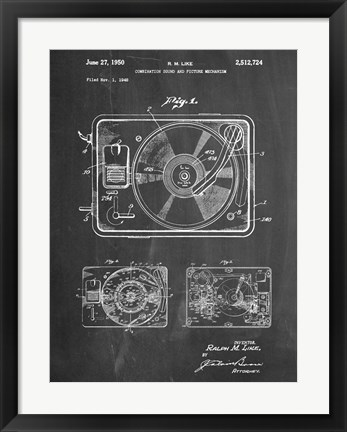 Framed Record Player Print