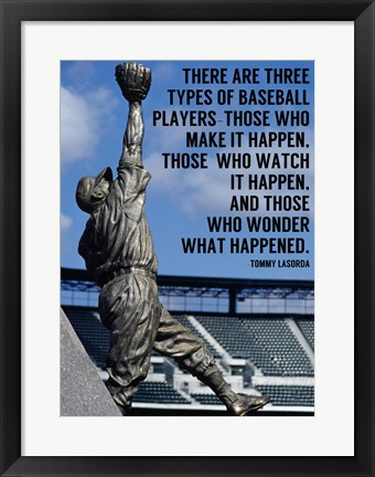 Framed Three Types of Baseball Players Print