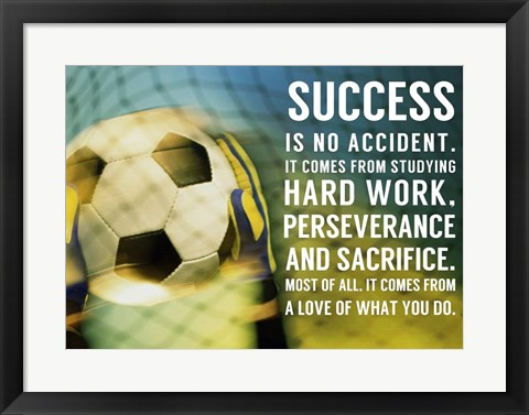 Framed Success - soccer quote Print