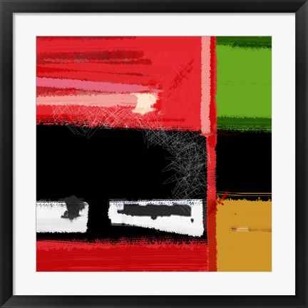 Framed Red And Green Square Print