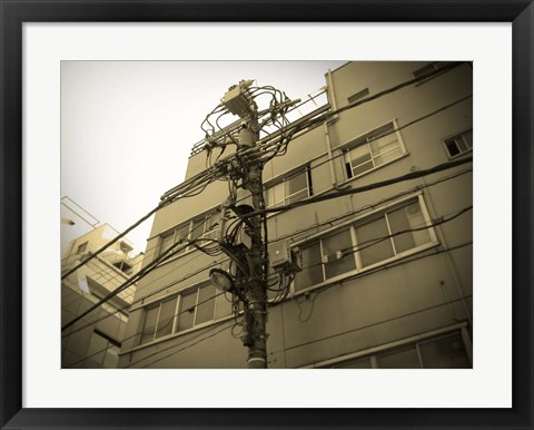 Framed Tokyo City Electric Pole Print