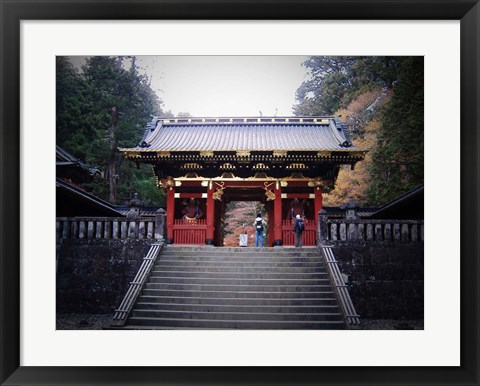 Framed Red Gates And Temple Print