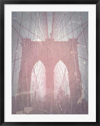 Framed Brooklyn Bridge Red Print