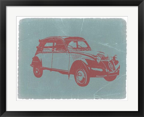 Framed Citroen 2CV Red Print