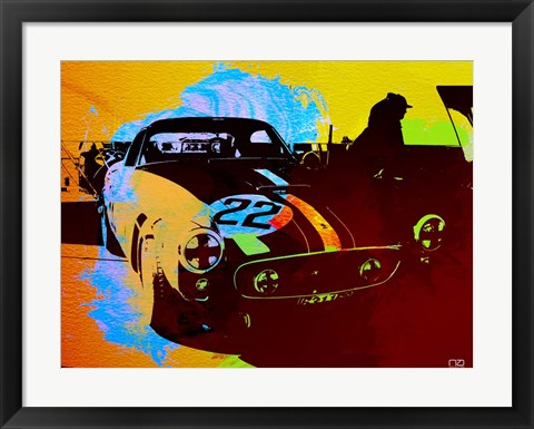 Framed Ferrari Watercolor 1 Print