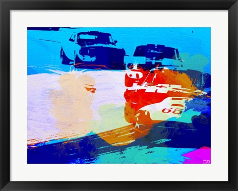 Framed Mustang On The Race Track Watercolor Print