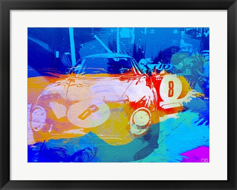 Framed BMW Before Race Watercolor Print