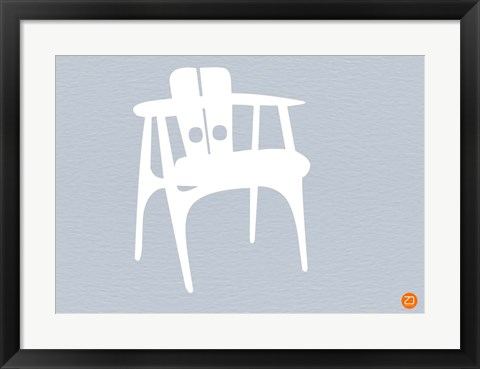 Framed White Wooden Chair Print
