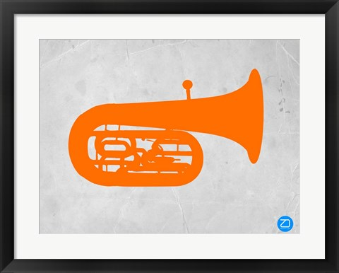 Framed Orange Tuba 2 Print
