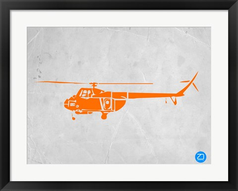 Framed Orange Helicopter Print