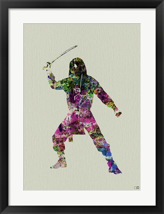 Framed Ninja Watercolor 2 Print