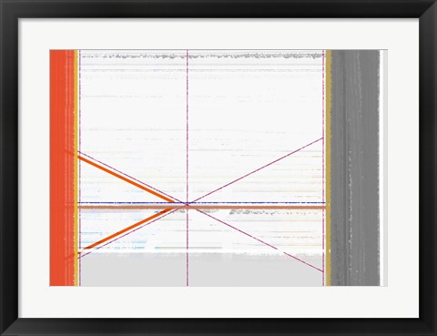 Framed Abstract Orange and White Print
