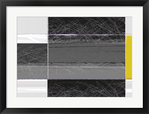 Framed Abstract Grey and Yellow Print