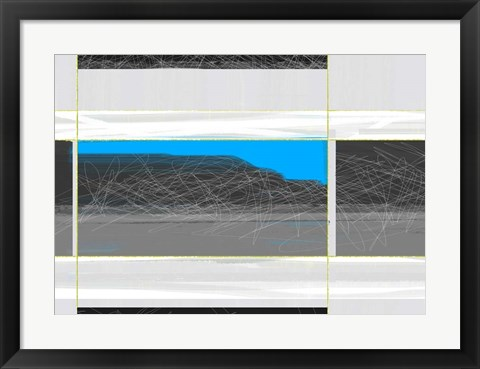 Framed Abstract White and Blue Print