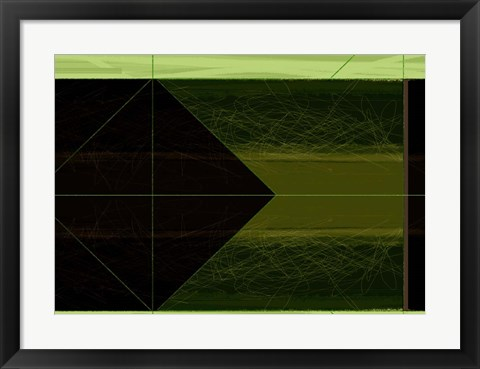 Framed Abstract Green Cone Print