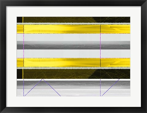 Framed Abstract Yellow Parallels Print
