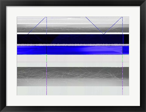 Framed Abstract Blue and White Paralells Print
