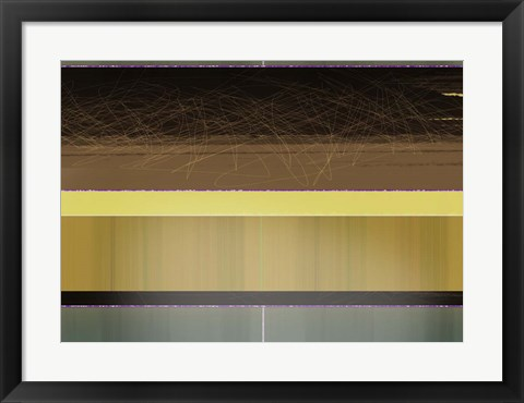 Framed Abstract Yellow and Brown Parallels Print