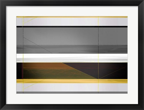 Framed Abstract Grey and Yellow Stripes Print
