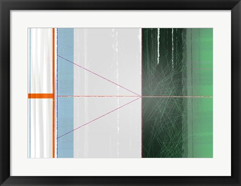 Framed Abstract Orange and Green Print
