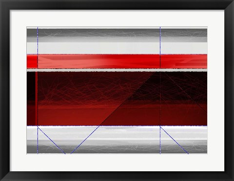Framed Abstract Red and Brown Print