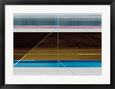Framed Abstract Blue and Brown Lines Print