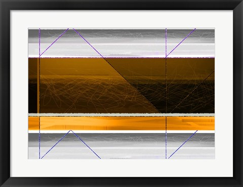 Framed Abstract Yellow and White Lines Print