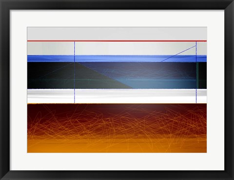 Framed Abstract Blue and Bright Brown Print