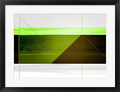 Framed Abstract Brown and Green Print