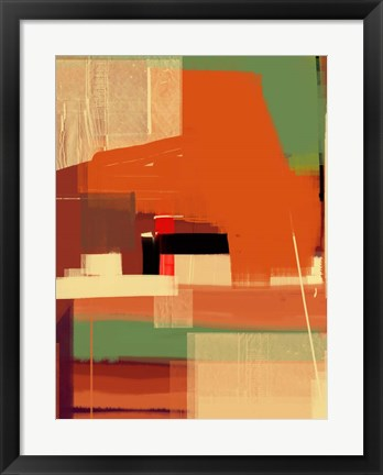 Framed Green and Brown Abstract 4 Print