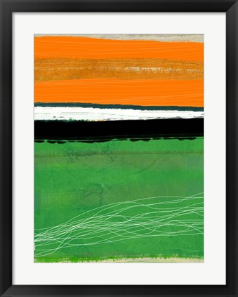 Framed Orange and Green Abstract 1 Print