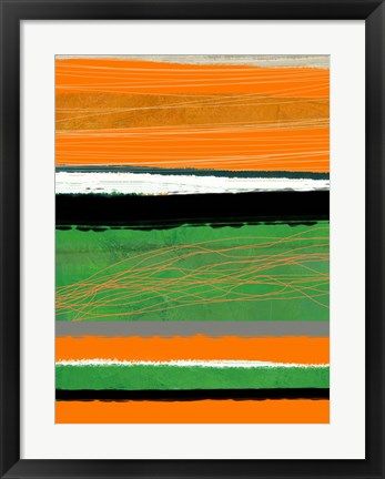 Framed Orange and Green Abstract 2 Print