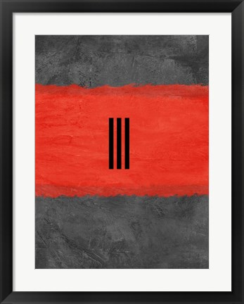 Framed Grey and Red Abstract 1 Print