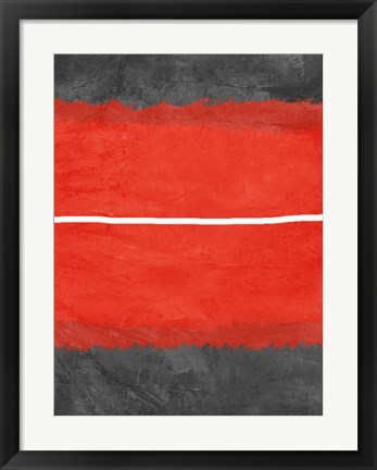 Framed Grey and Red Abstract 2 Print
