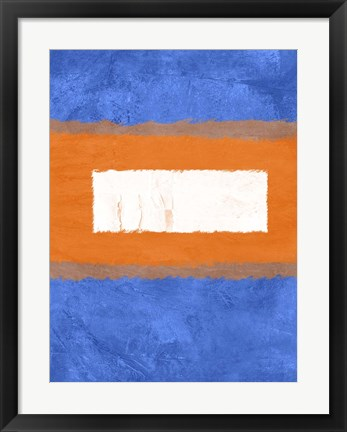Framed Blue and Orange Abstract Theme 1 Print