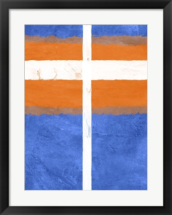 Framed Blue and Orange Abstract Theme 3 Print
