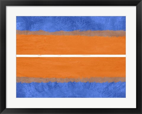 Framed Blue and Orange Abstract Theme 4 Print