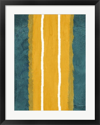 Framed Green and Yellow Abstract Theme 2 Print