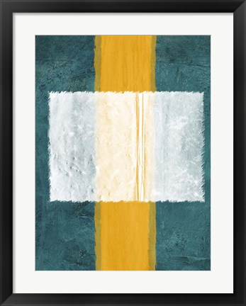 Framed Green and Yellow Abstract Theme 3 Print