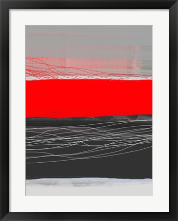 Framed Abstract Stripe Theme Red Print