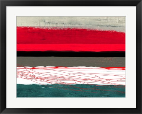 Framed Abstract Stripe Theme Red Grey and White Print