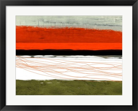 Framed Abstract Stripe Theme Orange and Black Print