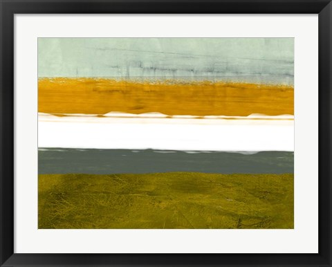 Framed Abstract Stripe Theme Yellow and White Print