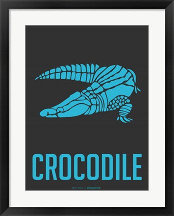 Framed Crocodile Blue Print