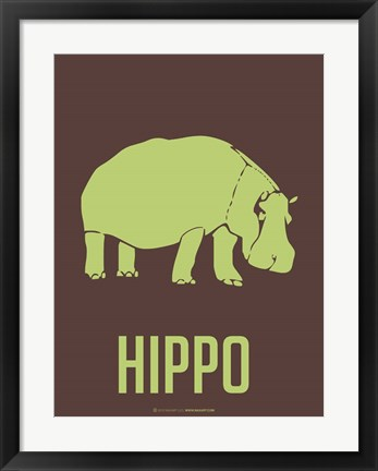 Framed Hippo Green Print